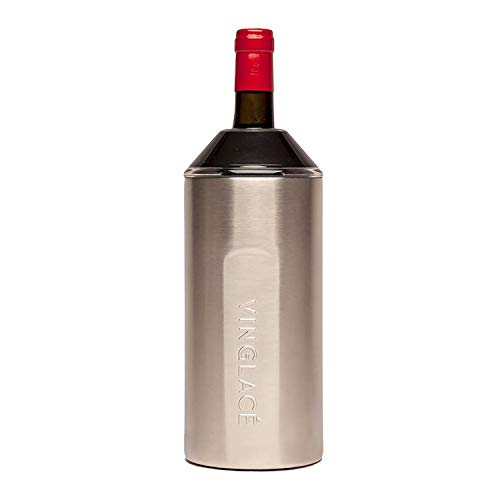 Vinglacé Wine Bottle Insulator | Stainless Steel | Double Walled | Vacuum Insulated | Tritan Plastic Adjustable Top | Keeps Wine & Champagne Cold for Hours | 10' x 11' x 12' | Stainless Steel