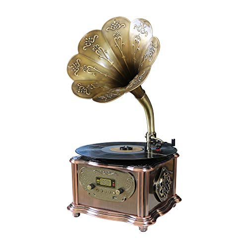 Phonograph Turntable Wireless Speaker, with Aux-in, FM Radio, USB Port for Flash Drive, Gramophone Vintage Retro Style