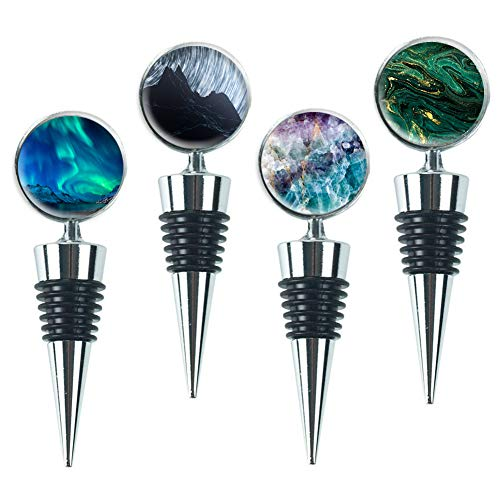 LIZIMANDU Wine Bottle Stoppers,Set of 4 Stainless Steel Wine Stoppers For Gifts, Bar, Holiday Party, Wedding(4-Quicksand Scenery)
