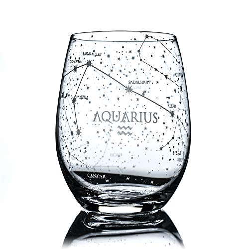 Greenline Goods Aquarius Stemless Wine Glass | Etched Zodiac Aquarius Gift | 15 oz (Single Glass) - Astrology Sign Constellation Tumbler
